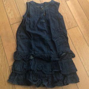 Girls soft jean romper dress